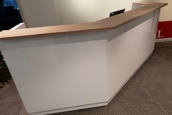 Laminate Reception Desk Featuring A Veneer Transaction Top