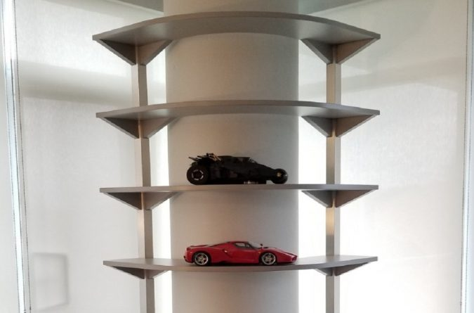 Unique Shelf Unit - Curved Around Support Post