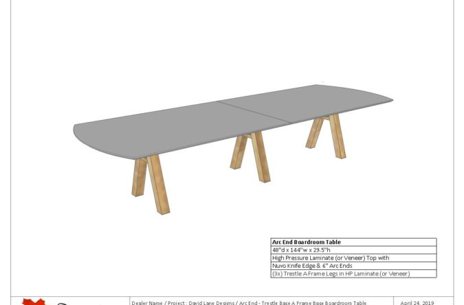 A Frame Base - Arc End Boardroom Table (HPL Or Veneer)