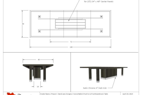 Convertible Boardroom Table - 6 Feet To 12 Feet Long