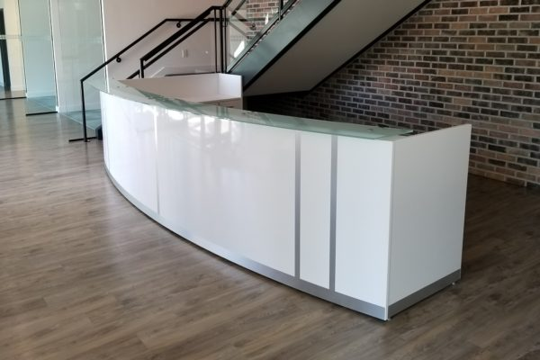 Curved High Gloss Laminate 13-1/2 Foot Reception Desk
