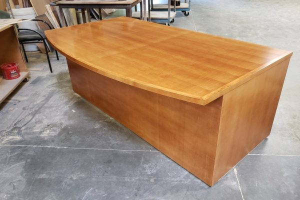 Quarter Cut Maple Veneer Bow Front Desk With Solid Wood Edge
