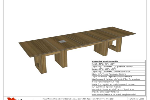 """Convertible 1/4 Cut Walnut Veneer Boardroom Table 48"""" X 96"""" To 48"""" X 156"""""""