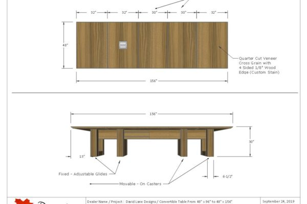 "Convertible 1/4 Cut Walnut Veneer Boardroom Table 48"" X 96"" To 48"" X 156"""
