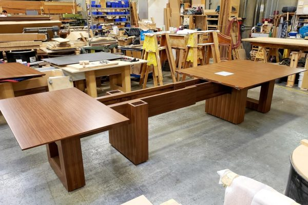 "Convertible 1/4 Cut Walnut Veneer 48"" X 156"" To 48"" To 96"" Boardroom Table"