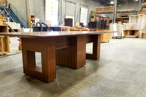 "Convertible 1/4 Cut Walnut Veneer 48"" X 96"" To 48"" To 156"" Boardroom Table"