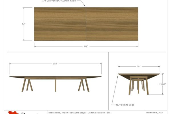 Custom Boardroom Table With Wooden Legs
