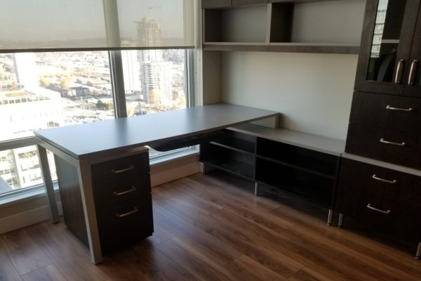 Two Tone Laminate & Glass Door Wall Cabinets & Desk