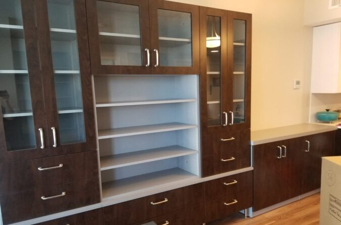 Two Tone Laminate & Glass Door Wall Cabinets