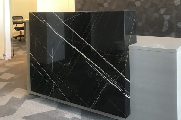 Reception Desk With Stone Accent Feature