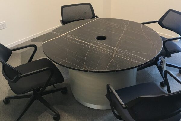 Round Stone Top Table With Drum Base