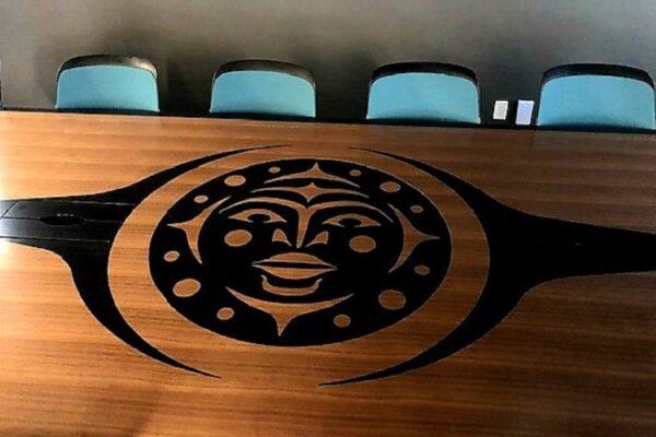Anigre Veneer Inlay - 1/4 Cut Walnut Veneer Boardroom Table