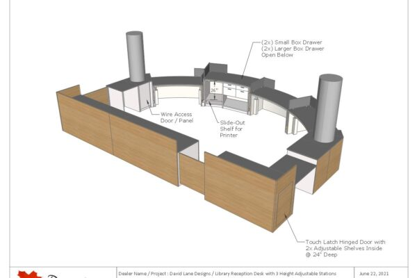 Library Reception Desk With 3 Height Adjustable Stations