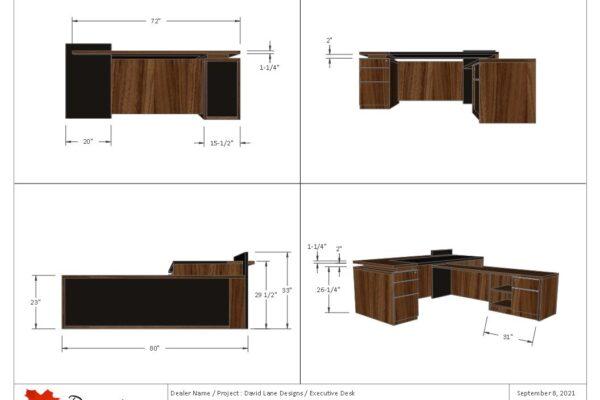 Stylish Executive Desk Featuring 1/4 Cut Walnut & Black Laminate Inlays